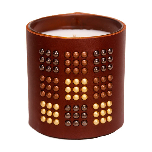 The Matrix -Studded,  Leather wrapped, Designer, Luxury  scented gift candle - Brown