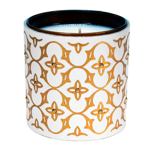 Haute Couture Pattern | Leather wrapped designer gift candle - White