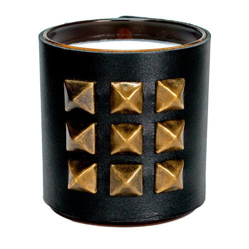 The Rocker | Pyramid studded, leather wrapped, designer gift candle - Black