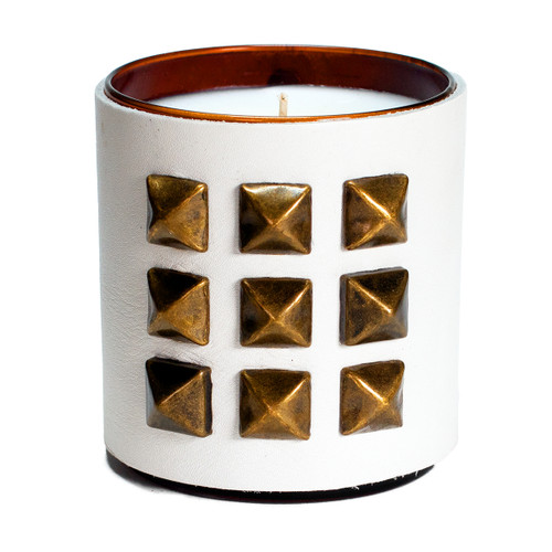 The Rocker | Pyramid studded , leather wrapped,  designer Gift candle - White