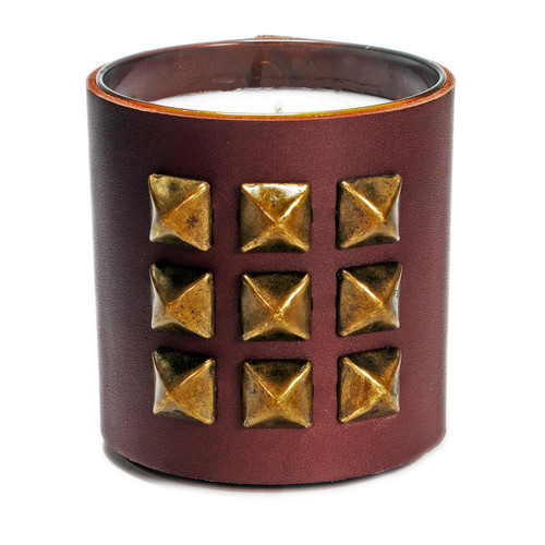 The Rocker | Pyramid studded, leather wrapped, designer gift candle - brown