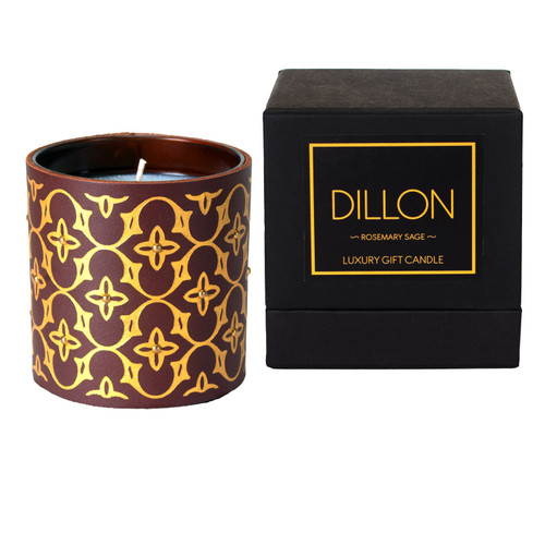 Designer pattern luxuy gift candle with box - brown
