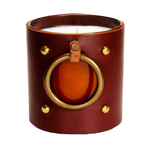 Window of the soul - Leather Wrapped designer gift candle - Brown