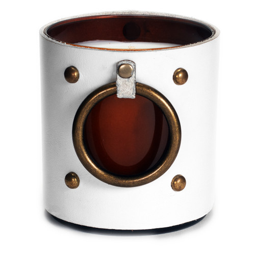 Window of the soul -  Leather Wrapped designer gift candle - white