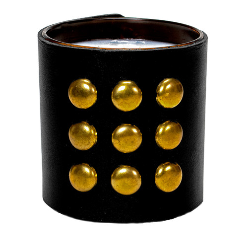Studded Round  Leather wrapped designer gift candle - black