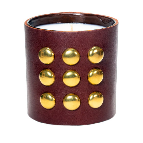 Studded Round |  Leather wrapped, designer gift candle - brown
