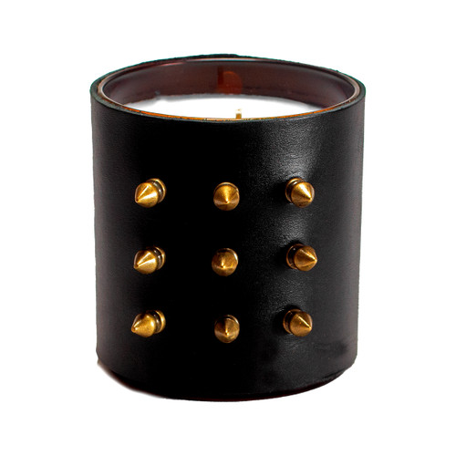 Designer, candle, luxury, bondage, spikes, scented, gift, leather, high end, quality, handceafted-black