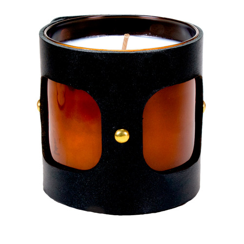 Inner Vista - Leather wrapped designer gift candle - Black