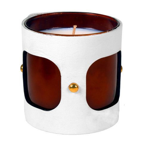 Inner Vista - Leather wrapped designer gift candle  - White