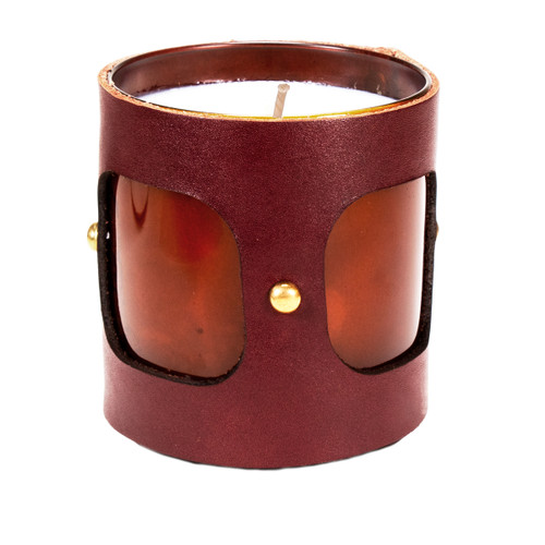 Inner Vista - Leather Wrapped, luxury designer gift candle - Brown