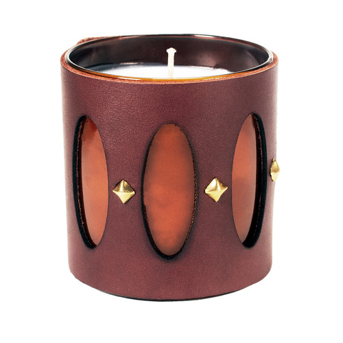 Designer luxury leather wrapped gift candle Cathedral window with gif box