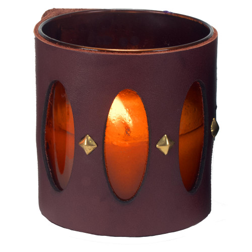 Designer luxury leather wrapped gift candle Cathedral window
