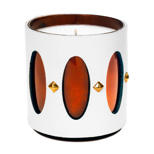 cathedral window candle  - leather wrapped
