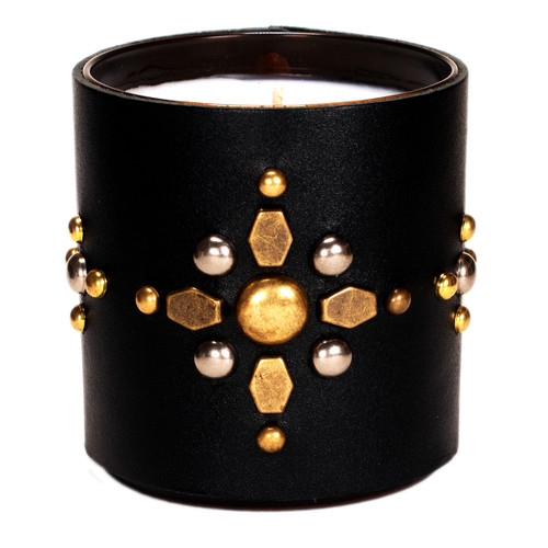 Studded Sunburst | Leather Wrapped designer gift candle - black