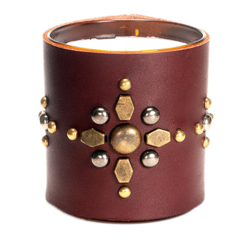 Studded Sunburst  | Leather wrapped, designer gift candle  - brown