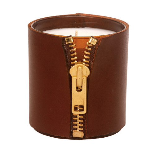 Zipper - Leather Wrapped designer gift candle - brown