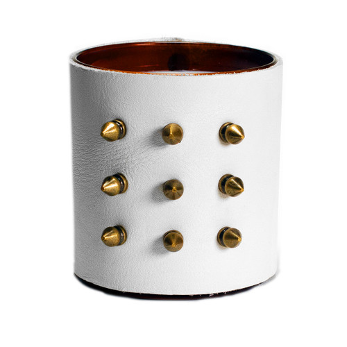 Designer, candle, luxury, bondage, spikes, scented,gift, leather, high end, quality, handceafted-white