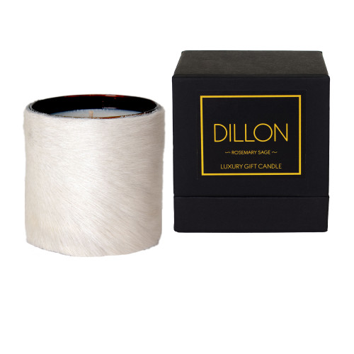 Designer, candle, luxury,  cow, hair on hide, fur  scented, gift, leather, high end, quality, handcrafted- box,