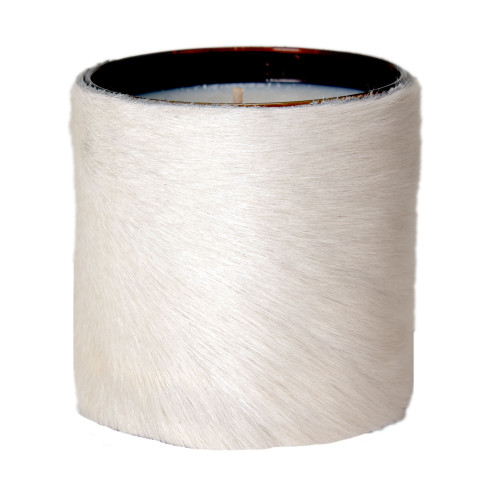 Designer, candle, luxury,  cow, hair on hide, fur  scented, gift, leather, high end, quality, handcrafted-