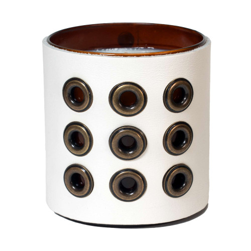 Grommeted - Leather wrapped designer gift candle - white