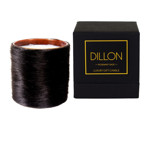 Furry - Black - Hair on Hide Leather wrapped, Luxury Designer Scented gift candle
