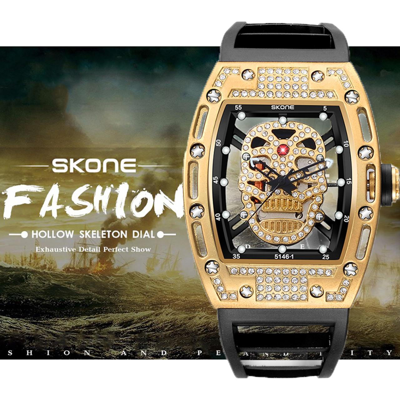 a36c3b12c SKONE Quartz Movement Skull Watches Rhinestone Skeleton Watch for Men Gold