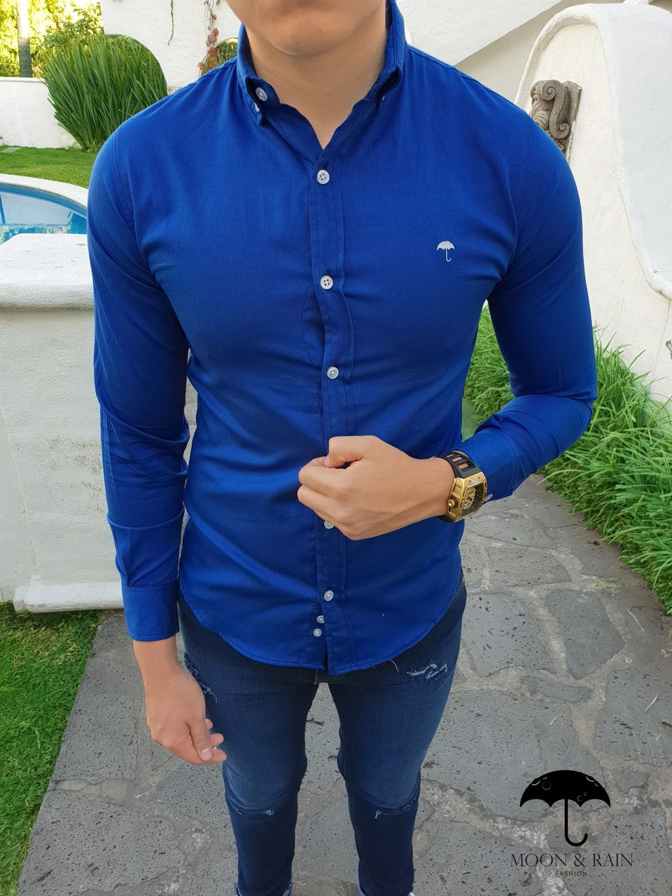 new lower prices brand quality release info on Men's Royal Blue Slim Fit Dress Shirt by Moon & Rain