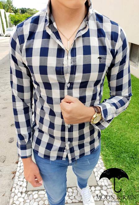 Plaid Shirt Beige/Navy Blue by Moon & Rain