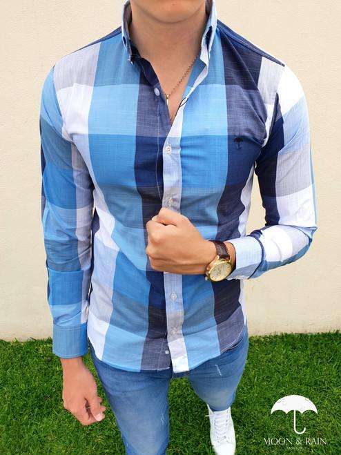 Moon & Rain Plaid Shirt White/Multi-Blue