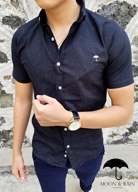 Shirt Slim Fit Black White Spots