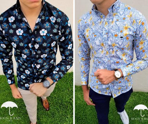Slim Fit Shirt Flower Pattern by Moon & Rain