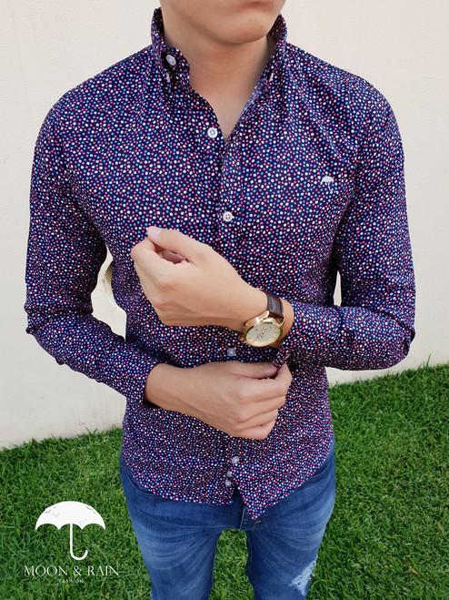 Polka Dots Slim Fit Shirt Black/Multicolor Dots by Moon & Rain