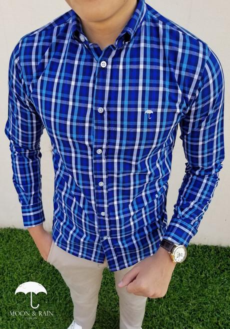 Plaid Slim Fit Shirt Navy Blue/Blue/White by Moon & Rain