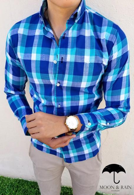 Plaid Slim Fit Shirt Navy Blue/White/Turquoise by Moon & Rain