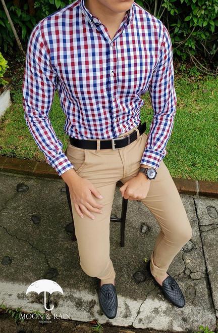 Checks Slim Fit Shirt White/Navy Blue/Red by Moon & Rain