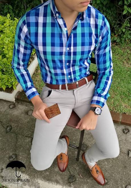 Checks Slim Fit Shirt Navy Blue/White/Turquoise by Moon & Rain