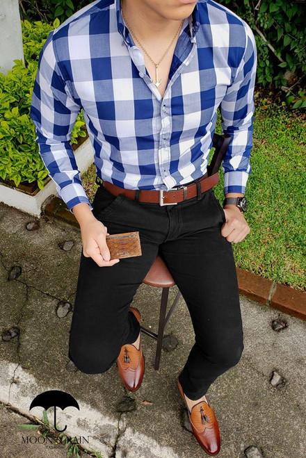 Checks Slim Fit Shirt White/Navy Blue by Moon & Rain