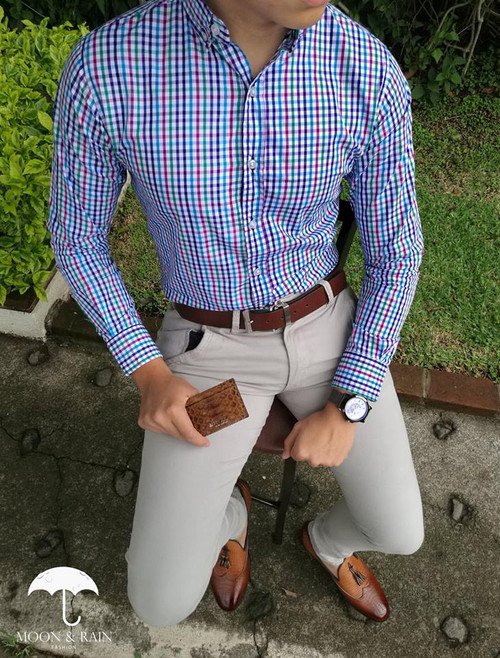 Checks Slim Fit Shirt White Lines Blue/Red/Green/Purple by Moon & Rain