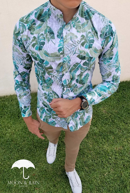 Slim Fit Shirt White with Green Leaves by Moon & Rain