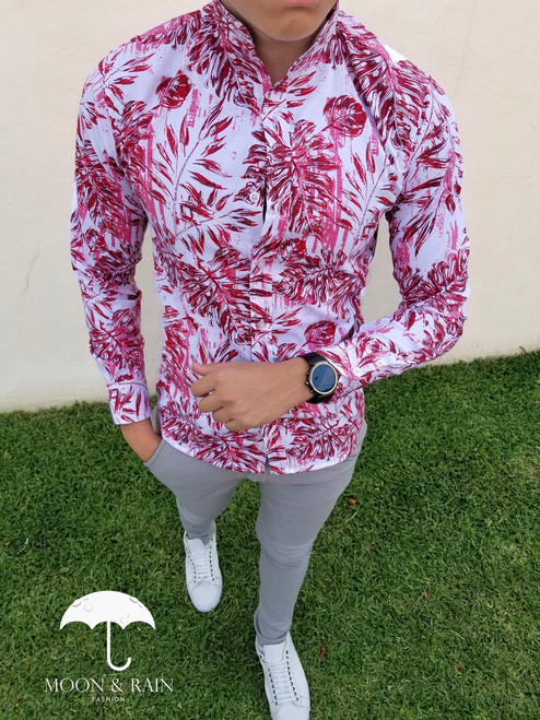 Slim Fit Shirt White with Red Leaves by Moon & Rain