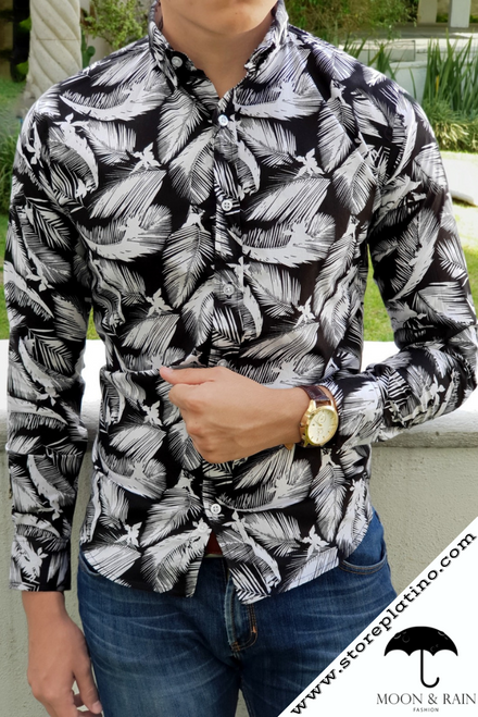 Slim Fit Shirt Black with White Leaves by Moon & Rain