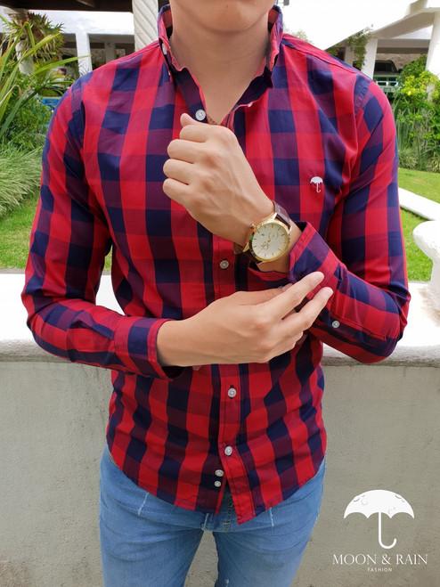 Slim Fit Plaid Shirt Navy Blue/Red by Moon & Rain