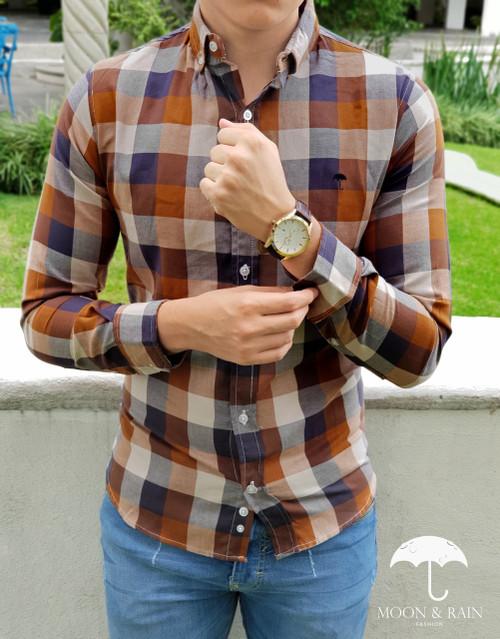 Slim Fit Plaid Shirt Brown by Moon & Rain