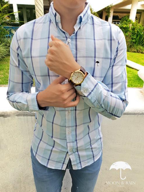 Slim Fit Plaid Shirt Blue by Moon & Rain