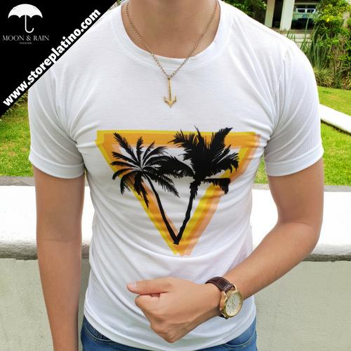 White T-Shirt Yellow Triangle Palm Trees by Moon & Rain