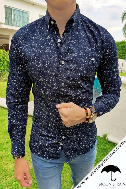 Black Slim Fit Shirt with White Splash by Moon & Rain