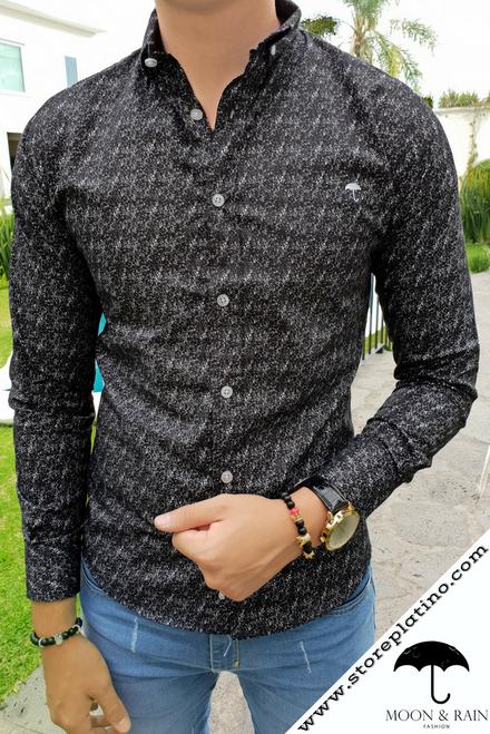 Black Slim Fit Shirt White Spots by Moon & Rain