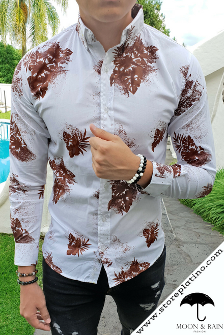White Slim Fit Shirt with Brown Leaves by Moon & Rain