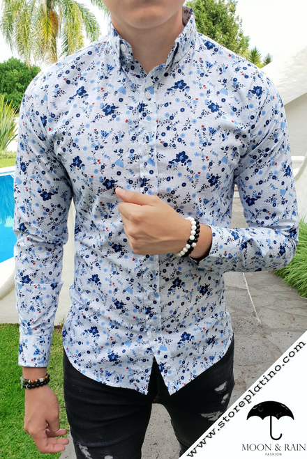 White Slim Fit Shirt with Blue Flowers by Moon & Rain