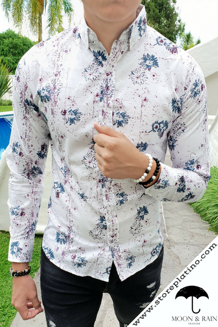 White Slim Fit Shirt with Blue/Red Flowers by Moon & Rain
